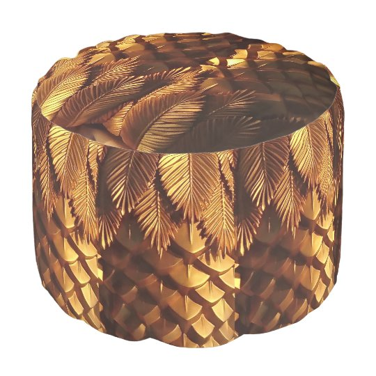 Gold Leafs Woven Cotton Round Pouf