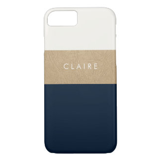 Gold leather and navy blue iPhone 8/7 case
