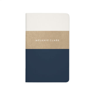 Gold leather and navy blue journals