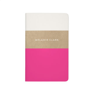 Gold leather and pink journal