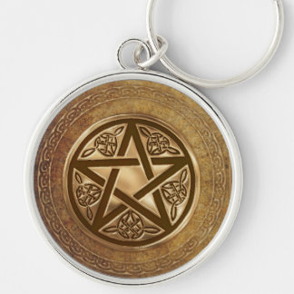 Gold & Leather Pentacle Keychain
