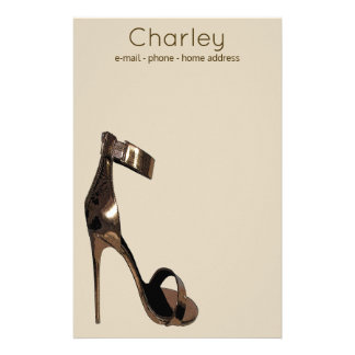 Gold leather stiletto strappy shoes - personalised stationery