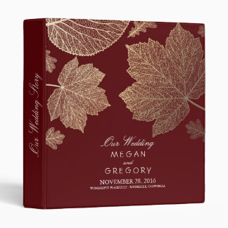 Gold Leaves Burgundy Fall Wedding Binders