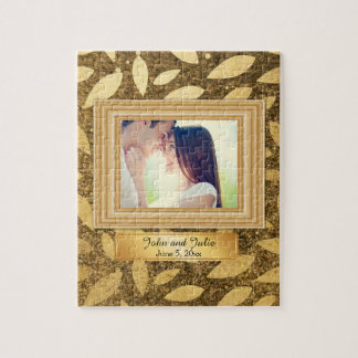 Gold Leaves Couple Photo Puzzle