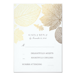 "Gold Leaves Fall Wedding RSVP Cards 3.5"" X 5"" Invitation Card"