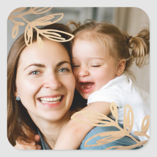 Gold Leaves Holiday Photo Square Sticker