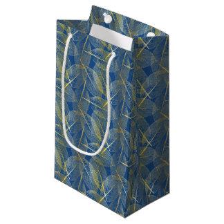 Gold Leaves on Blue - Gift Bag