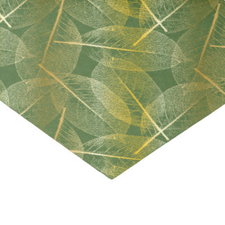 Gold Leaves on Green - Tissue Paper