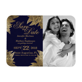 Gold Leaves on Navy Blue Save the Date Magnets