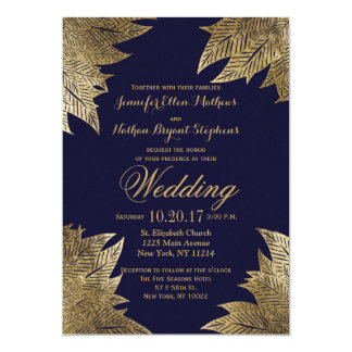 Gold Leaves on Navy Blue Wedding Invitations