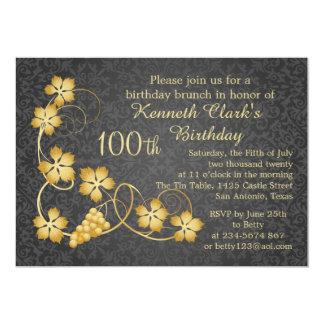 Gold leaves on vine, grey damask 100th Birthday Card