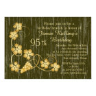Gold leaves on vine, wood effect 95th Birthday Card