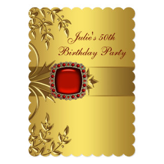 Gold Leaves Red Jewel Womans 50th Birthday Party Card