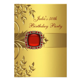 Gold Leaves Red Jewel Womans 50th Birthday Party Announcements