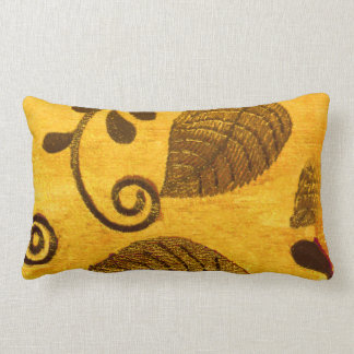 Gold Leaves Swirl Lumbar Pillow