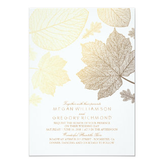 Gold Leaves Vintage Elegant Fall Wedding Card