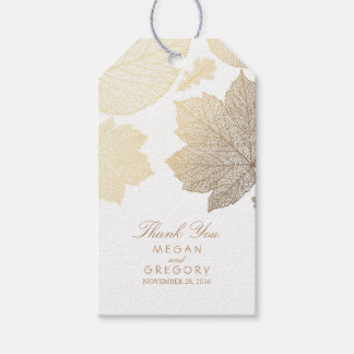 Gold Leaves White Fall Wedding Gift Tags