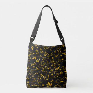Gold leaves with black back ground crossbody bag