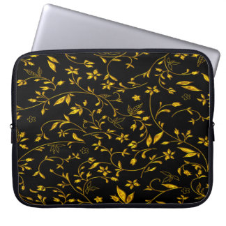 Gold leaves with black back ground laptop sleeve