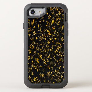 Gold leaves with black back ground OtterBox defender iPhone 8/7 case