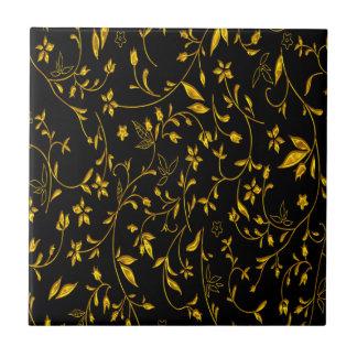 Gold leaves with black back ground tile