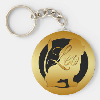GOLD LEO ZODIAC SIGN BASIC ROUND BUTTON KEYCHAIN
