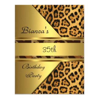 "Gold Leopard 35th Birthday Party 4.25"" X 5.5"" Invitation Card"