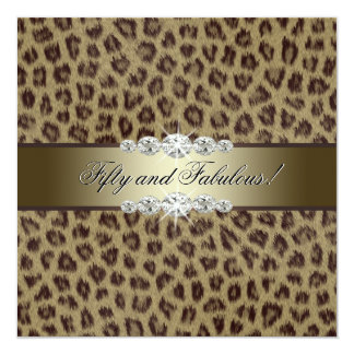 "Gold Leopard 50th Birthday Party 5.25"" Square Invitation Card"