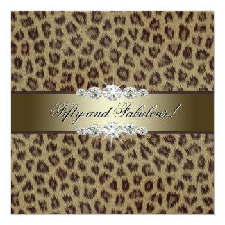 """Gold Leopard 50th Birthday Party Invitations 5.25"""" Square Invitation Card"""