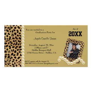 Gold Leopard And Matching Pearls  Invitation Photo Card Template