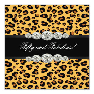 Gold Leopard Birthday Party Card