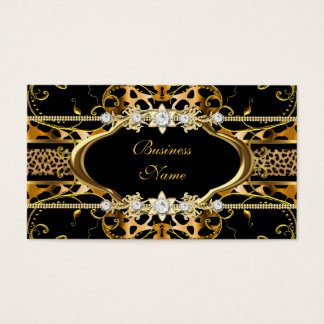Gold Leopard Black Jewel Look Image Business Card