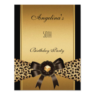 "Gold Leopard Coffee Brown Black 50th Birthday 2 4.25"" X 5.5"" Invitation Card"