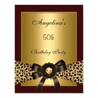 "Gold Leopard Coffee Brown Black 50th Birthday 3 4.25"" X 5.5"" Invitation Card"