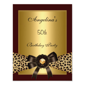 "Gold Leopard Coffee Brown Black 50th Birthday 3 4.25"" X 5.5"" Invitation Card"