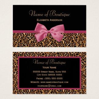 Gold Leopard Fur Chic Mauve Pink Bow Boutique Business Card