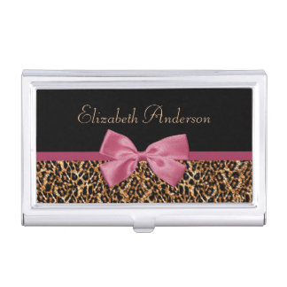 Gold Leopard Fur Chic Sangria Pink Bow With Name Business Card Holders