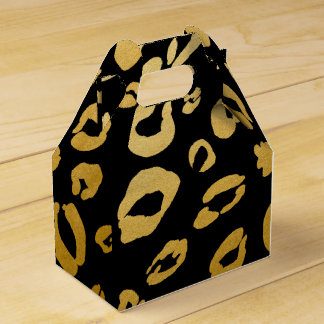 Gold Leopard Print Birthday Party Favor Boxes