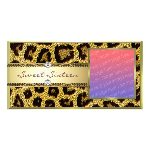 Gold Leopard Sweet Sixteen Photocard Picture Card