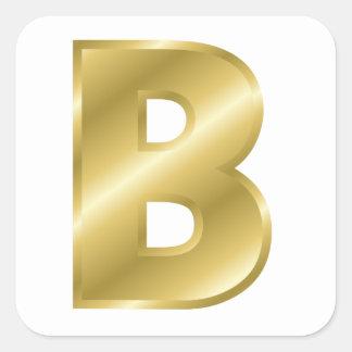 Gold Letter B Square Sticker