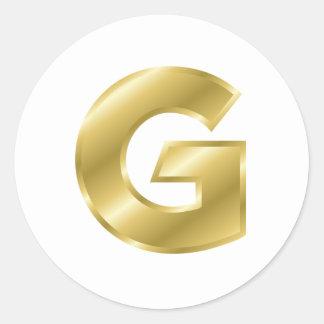 Gold Letter G Classic Round Sticker