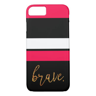 gold letter hot pink black and white striped case