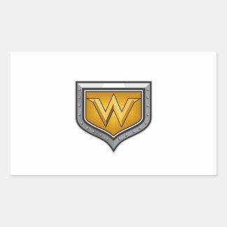 Gold Letter W Shield Retro Sticker