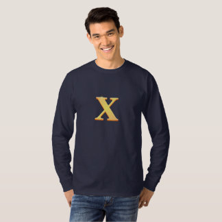 Gold letter X print on Long Sleeve T-Shirt