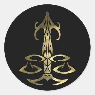 Gold Libra Scales Round Classic Round Sticker