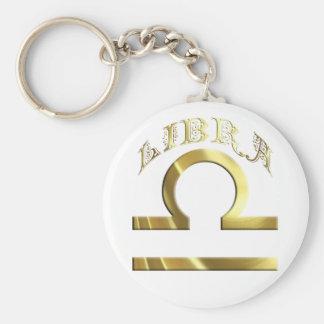 Gold Libra Symbol Astrology Zodiac Basic Round Button Keychain