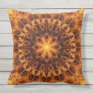 Gold Light Gateway Mandala Outdoor Pillow