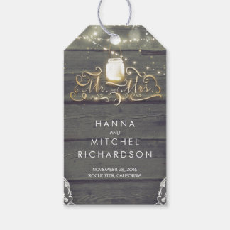 Gold Lights Mason Jar Rustic Wood Wedding Gift Tags