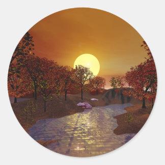 Gold Linger - Autumn Scene Classic Round Sticker