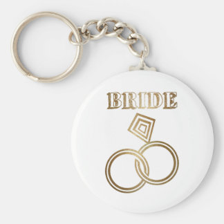 Gold Linked Rings Bride Wedding Basic Round Button Keychain